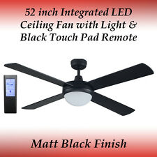 Fias Rotor 52 inch LED Ceiling Fan in Matt Black with Black Touch Pad Remote
