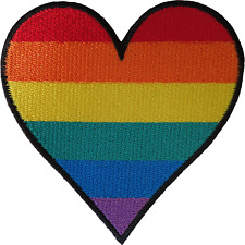 Rainbow Heart Patch Iron Sew On Clothes T Shirt Gay Pride Love Embroidered Badge