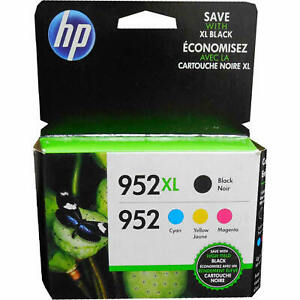 HP 952XL High-Yield Black And 952 Tri-Color Genuine Ink Cartridges Pack Of 4