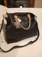 NWT PULICATI Genuine Leather Handbag Black Made in Italy CEF3644