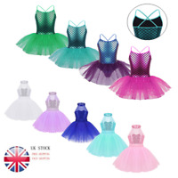 UK Girls Shiny Mermaid Ballet Dance Tutu Dress Kids Lyrical Leotards Gym Costume
