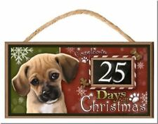 "Puggle ""Holiday Countdown"" Dog Sign / Plaque featuring the art of Scott Rogers"