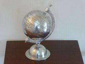 Metal World Globe Hand Carved