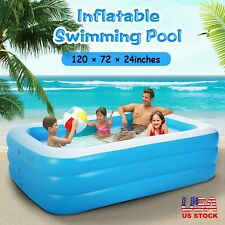 "120""x72"" Family Swimming Pool Garden Summer Inflatable Kids Adults Paddling Pool"