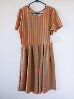 NWT Lularoe Amelia Womens Dress Striped Green and Orange Short Sleeve Size XL