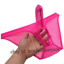Men's See-through Jacquard Lace Briefs Underwear Penis Long Sheath & Balls Hole