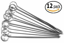 Barbecue Shish Kabab Ring-Tip Handle Skewers, Stainless Steel (12-Pack, 10 Inch)