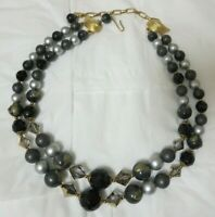 Vintage Gold Tone Two Strand Black Crystal, Black, Grey, & Silver Bead Necklace