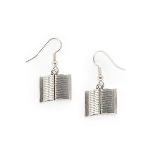 Book Earrings silver pewter charms teacher gift USA-made open for book lovers