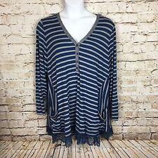 LOGO Lori Goldstein Plus SX 3X Striped Rib Knit Henley Lace Trim A285341 TT6