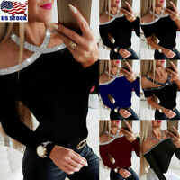 Womens Beads Sequins Cold Shoulder Tops Shirt Ladies Slim Fit Long Sleeve Blouse