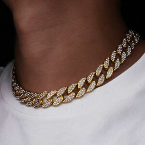 Mens Iced Out Diamond Thick Miami Cuban Link Chain Necklace Hip Hop Jewelry
