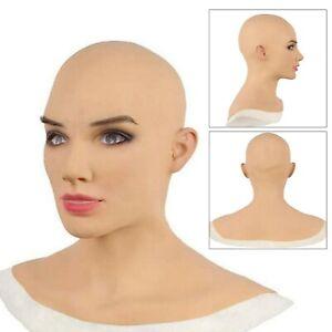 Silikon weibliche Kopfbedeckung Latex Haut Maskerade Drag Cosplay Crossdresser