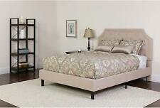 Brighton Full Size Tufted Upholstered Platform Bed in Beige Fabric New