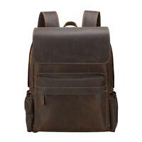Retro Men Leather Holiday Backpack 16'' Laptop Bag School Bag Travel Bag Daypack