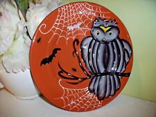 """NEW Laurie Gates OWL PLATE  Bat Spiders & Web 8 3/4"""" Dinner Luncheon HALLOWEEN"""