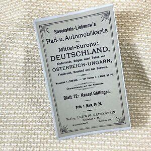 1920 Antique German Road Map Kassel Gottingen Lower Saxony Germany Automobilia