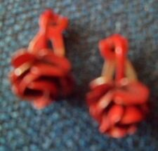 """Vintage Red Rose Clip-on Earrings Approx 3/4"""" Long (67)"""