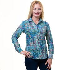 Celino Impreso Botones Camisas Mangas Largas para Mujeres Algodón Hecho en Europa
