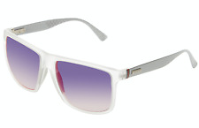 GUCCI Square Men Sunglasses GG 1075/S Crystal Clear Grey Violet Mirrored JWIHI