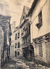 Maison médiévale   Encre F. Nouaille 1937 France