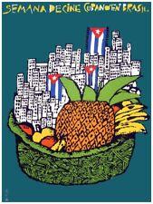 Movie Poster for film Semana de cine in Brazil.Cuban flag. Room wall art decor