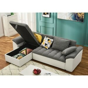 L-shape Corner Sofa Bed with Storage & Cushions Leather/Fabric Recliner Chaise