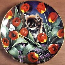 "Euc Franklin Mint's Cat Plate - ""Tiptoe Through the Tulips"", C.O.A. & Hanger"