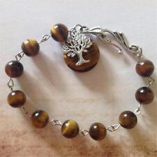 Semi-Precious Tiger Eye Gemstone Bead Bracelet~Tibetan Silver Tree Pendant