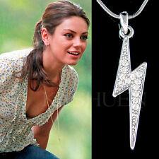 w Swarovski Crystal ~Lightning Bolt~ Thunderbolt Military Charm Necklace Jewelry