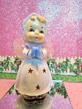 Vtg Angel Blue Mittens Pink Scarf Gold Snowflake Dress Gossamer Tulle Wings