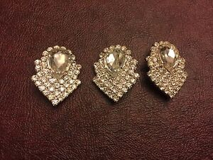Vintage Czech Silver Clear Rhinestone Prong Large Pear Layered Findings Lot