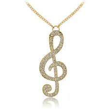 Fashion Women Jewelry Gold Crystal Music Note Rhythm Long Chain Necklace Pendant