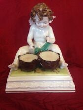 Antique Crown N Dresden Porcelain Figurine Putti Cherub Playing Drums