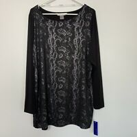 Peter Nygard XL Tunic Top Blouse Black Silver Long Sleeve Stretch Shirt NEW W