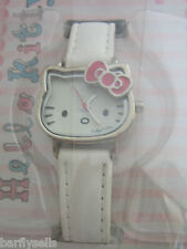 HELLO KITTY Reloj de Acero Inoxidable HK006 Oficial Sanrio Cuero Blanco Genuino