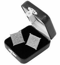 Men's Si Hip Hop Iced Out Large Square Flat Screen Block Screw Back Stud Earring