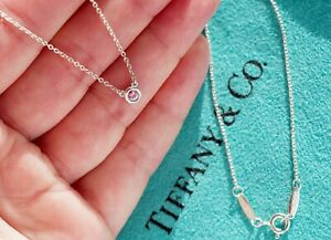 Tiffany & Co Silver Elsa Peretti Pink Sapphire .08ct Colour By the Yard Necklace