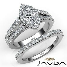 1.75ctw Modern Halo Bridal Set Marquise Diamond Engagement Ring GIA E-SI1 W Gold