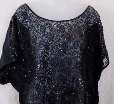 Torrid Black Lace Bat Wing Sleeve Top Blouse Plus Size 2X Sequins Cotton Blend