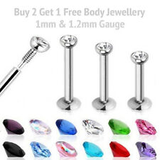 Labret Tragus Bar Cartilage Ear Lip Nose Monroe Stud Crystal Tiny Gem 1mm  1.2mm