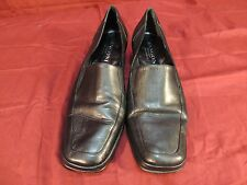 Rangoni Firenze Made in Italy Black Leather Square Toe Heels Sz 8.5 B wc 12138