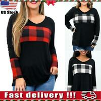 Women Plaid Long Sleeve Casual Loose Top Sweatshirt V Neck Pullover Blouse L-5XL