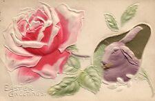 Heavy Embossed Pink Rose and Purple Bunny  Easter Greetings Postcard