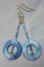 Selbstgemachte blaue Ohrringe mit Glasstein, handgemacht, DIY