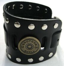 Wide Black Leather Watch Band With 12 Gauge Shotgun Shells Made in USA Buckled