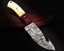 "16) 9""HANDMADE DAMASCUS STEEL SKINNER KNIFE/CAMEL BONE HANDLE-COW LEATHER SHEATH"