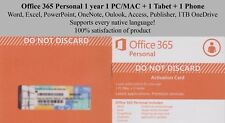 Microsoft Office 365 Personal 1 year for 1 x PC/MAC+Tabet+Phone