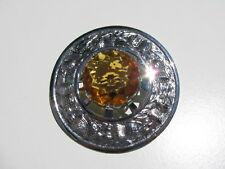 Vintage Scottish Celtic Thistle Kilt Shawl 30 Mm.Amber Citrine Glass Stone Pin