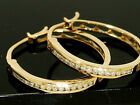 E043- Classic GENUINE 9ct SOLID Rose Gold NATURAL Diamond HOOP Earrings